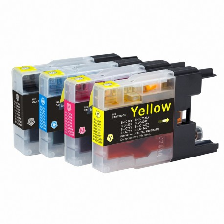 PACK 4 COMPATIBLES IMPRESORA BROTHER DCP SERIES J925DW LC1280 LC1240 LC1220