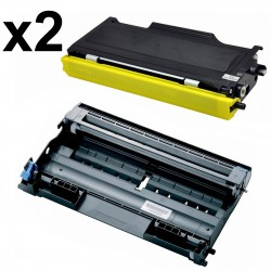 2 x Tóner y Tambor compatible Brother TN2000, TN2005, TN350 - DR2000, color negro