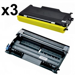 3 x Tóner y Tambor compatible Brother TN2000, TN2005, TN350 - DR2000, color negro