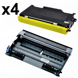 4 x Tóner y Tambor compatible Brother TN2000, TN2005, TN350 - DR2000, color negro