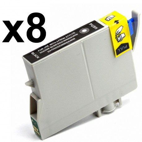 8 x Tinta compatible EPSON T0611, color negro
