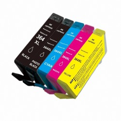 5 x Tinta compatible HP 364XL, color BK, BK PHOTO, C, M, Y