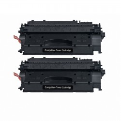 2 x Tóner compatible HP CE505X (05X), color negro