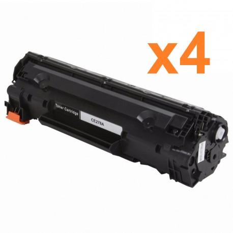 4 x Tóner compatible HP CE278A (78A), color negro