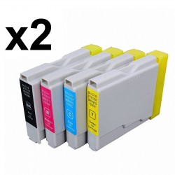 8 x Tinta compatible Brother LC1000 XL, LC970 XL, color BK, C, M, Y