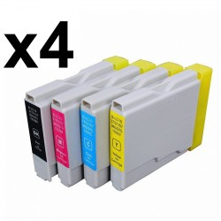 16 x Tinta compatible Brother LC1000 XL, LC970 XL, color BK, C, M, Y