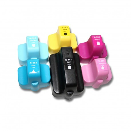6 x Tinta compatible HP 363XL, color BK, C, M, Y, CL, ML