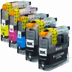 5 x Tinta compatible Brother LC223, LC221, color BK, C, M, Y