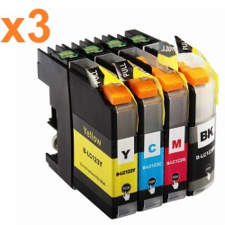 12 x Tinta compatible Brother LC121XL, LC123XL, color BK, C, M, Y