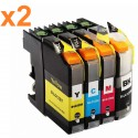 8 x Tinta compatible Brother LC121XL, LC123XL, color BK, C, M, Y