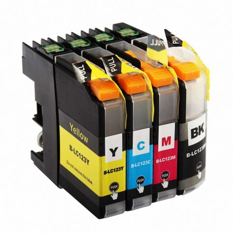 4 x Tinta compatible Brother LC121XL, LC123XL, color BK, C, M, Y