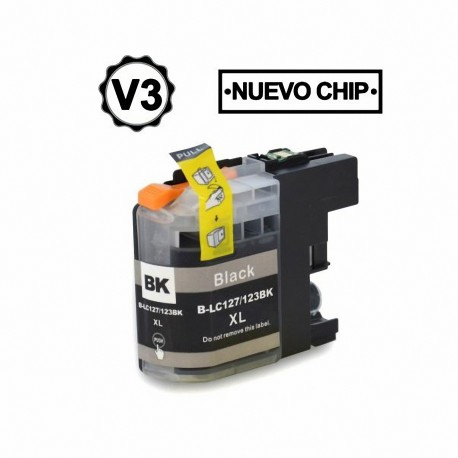 Cartucho de tinta compatible Brother LC127XL, color negro