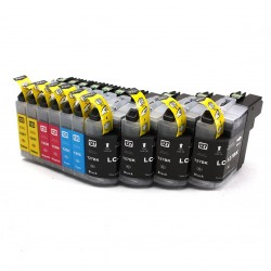 10 x Tinta compatible Brother LC127XL, LC125XL, color BK, C, M, Y