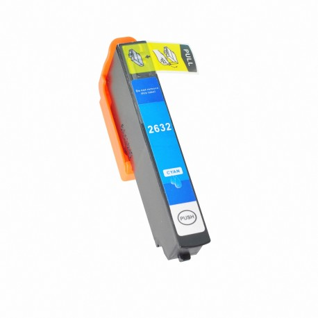 Tinta compatible Epson T2632, T2612, 26XL, color cyan