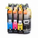 4 x Tinta compatible Brother LC127XL, LC125XL, color BK, C, M, Y