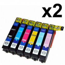 12 x Tinta comaptible Epson T2431, T2432, T2433, T2434, T2435, T2436 (24XL), color BK, C, M, Y, CL, ML