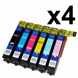 24 x Tinta comaptible Epson T2431, T2432, T2433, T2434, T2435, T2436 (24XL), color BK, C, M, Y, CL, ML