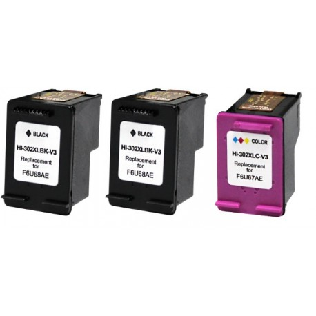 PACK X3 HP 302 NEGRO Y COLOR COMPATIBLE